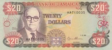 Jamaica #72e 20 Dollars (1995) UNC