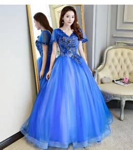 Blue puffy ball wedding bridal prom dress RB0622