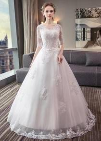 White long sleeve wedding bridal prom dress RB0612