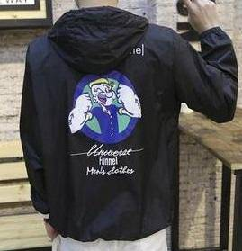 J3039 Classic Black Popeye Hoodies Sweater Jacket