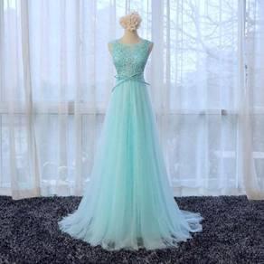 Blue wedding bridal prom dress gown