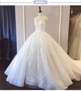 White fishtail wedding bridal prom dress RB0617