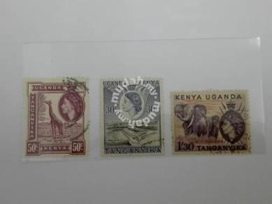 (RB 121) 1954 Kenya-Uganda-Tanganyika QE II Stamps