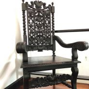 Large Antique Victorian Oak Carved Armchair