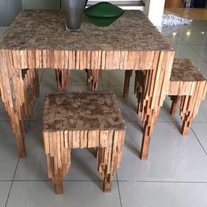 Designer Art Deco Teak Wood Table + 4 Stools Set