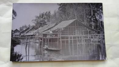 Antik Postcard Malay Village 1920s PC 1669 RARE