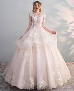 Champagne fishtail wedding prom dress RB0610