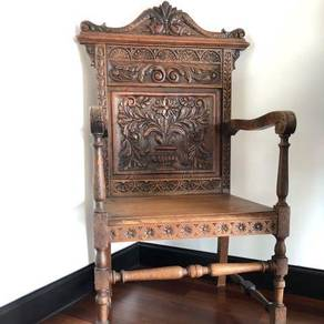 Antique oak carved armchair