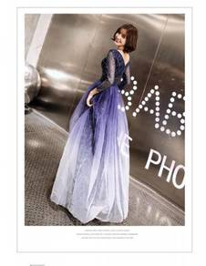 Blue glitter long sleeve evening prom gown RBP1037
