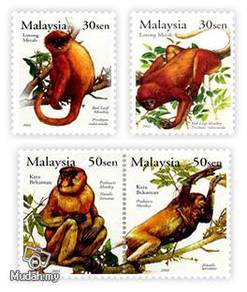 Mint Stamps Primates Red Leaf Monkey Malaysia 2003
