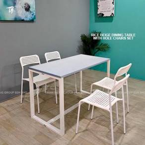 Fix Dining Table 60X120cm and Hole Chair