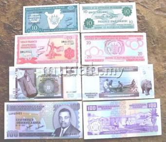 Burundi 2007 10,20,50,100 francs 4 pcs unc