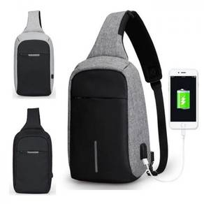 Anti Theft Chest Crossbody Pack USB Charge Polyest