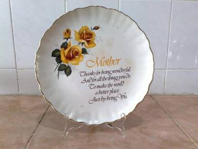 Pinggan antique old foley decor plate 'mother'