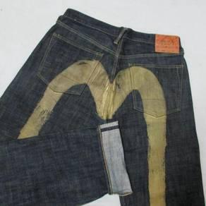 Evisu W33 L34 Diacock Gold kepala kain jeans
