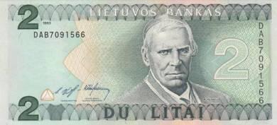 Banknote Lithuania #054a 2 Litai (1993) UNC