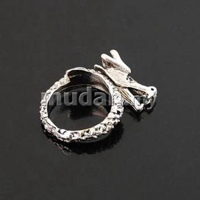 ABRSM-D016 Vintage Silver Flying Dragon Ring Sz7.5