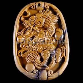 ABPJ-D045 NatureBrown Picasso Jasper Carved Dragon