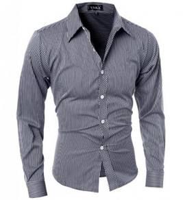 S52968 Black Striped Formal Man Long Sleeve Shirt