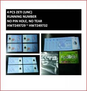 Pcol Duit Wang RM1 Zeti 4pcs 729~732 Running Bank