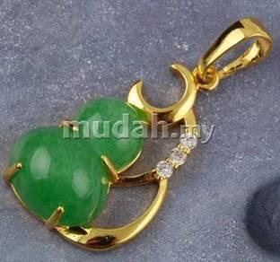 ABPJ-C002 Green Jade 18K Gold Calabash Necklace