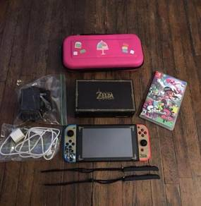 Neon Nintendo Switch With Splatoon 2 + Extras
