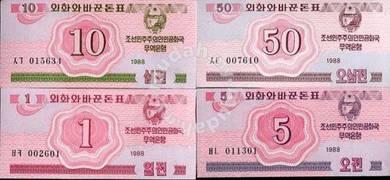 KOREA SET banknotes 4 PCS 1 5 10 50 CHON 1988 unc