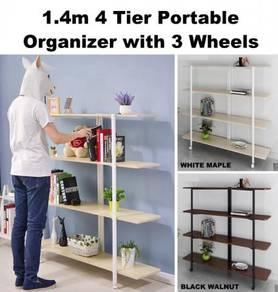 1.4m 4 Layer Tier Storage Rack Organizer 3 Wheels