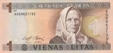 Banknote Lithuania #053a 1 Litas (1994) UNC
