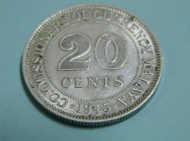 Malaya 20 Cents Silver Coin 1945 - George VI