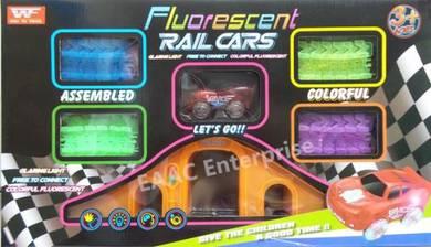 Big DIY Magic Track Fluorescent Rail Cars + Light