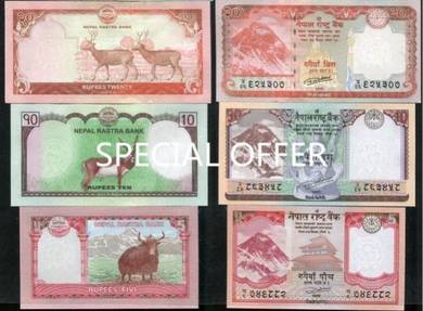 Nepal set 3 pcs 5 10 20 rupees p new unc