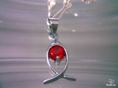 ABPSM-U001 Unique Silver Red Crystal Pendant Neckl