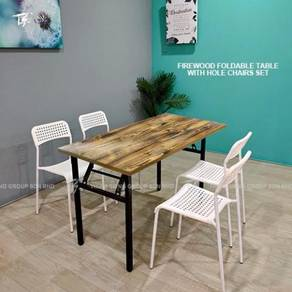Foldable Table W60xL120xH74cm and Hole chair