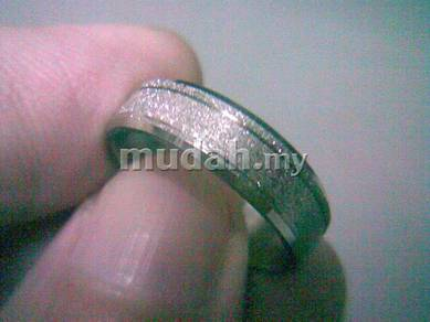 ABRSS-L004 Silver Side 4 Line Stainless Ring Sz8.5