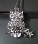 ABPS9-O001 925 Silver Owl Flower Pendant Necklace