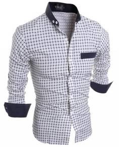 S39281 Check Plaid Black Formal Long Sleeve Shirt