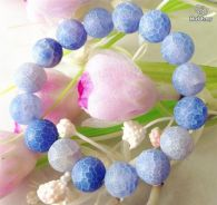 ABBJ-B001 Dreamlike 12mm Blue Frost Agate Bracelet