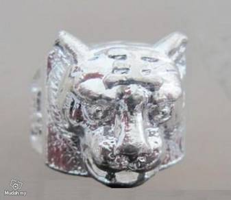ABRSM-T002 Tiger Face Head Style Silver Metal Ring