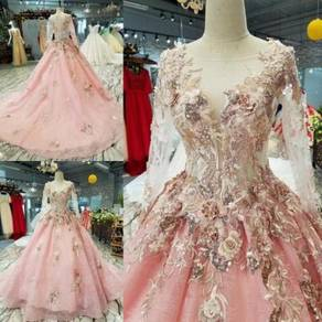 Pink long sleeve wedding prom dress gown RB0716