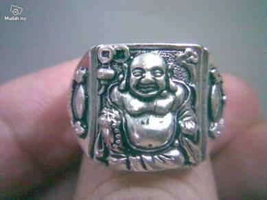 ABRSM-B001 Laughing Buddha Mi Le Silver Metal Ring
