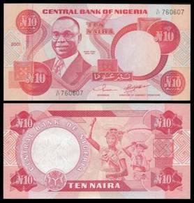 Nigeria 10 NAIRA Sign 11 2001 P 25f UNC
