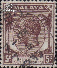 1936 Straits Settlements King George V 5c Stamp