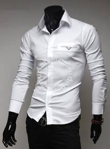 Korean elegant checked-lining stripe shirt