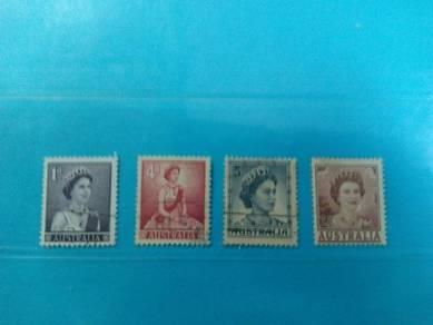 Set of 4 Australia stamps, Queen