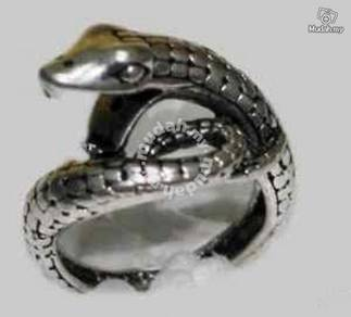 ABRSM-S002 Snake Cobra Silver Metal Ring size 6-8