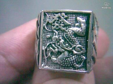 ABRSM-D005 FA-Rich Dragon Square Silver Metal Ring