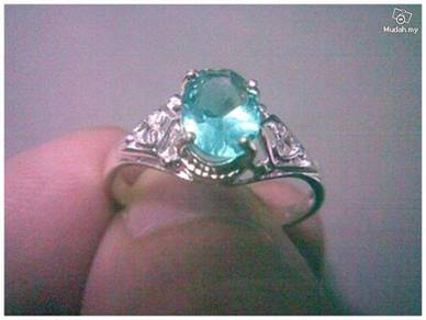 ABRSB-G003 Green Fashion Jewelry Silver Ring Sz8.5