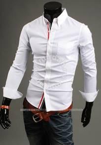 Korean character lined stripe slimfit shirt