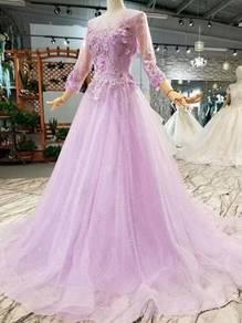 Purple long sleeve wedding prom dress gown RB0711